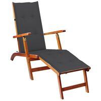 vidaXL Chaise de terrasse avec repose-pied et coussin Acacia solide