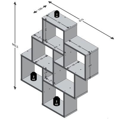 FMD Étagère murale avec 8 compartiments Blanc