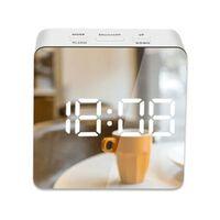 Réveil numérique à miroir led snooze, lumière de réveil de