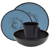 Eurotrail Ensemble de vaisselle Bahia 16 pcs Mélamine Noir et bleu