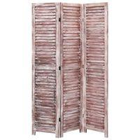 vidaXL Cloison de séparation 3 panneaux Marron 105x165 cm Bois