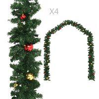 vidaXL Guirlandes de Noël avec boules 4 pcs Vert 270 cm PVC