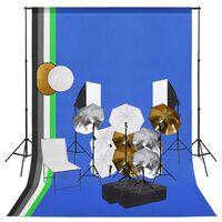 vidaXL Kit de studio photo avec lampes toile de fond et réflecteur