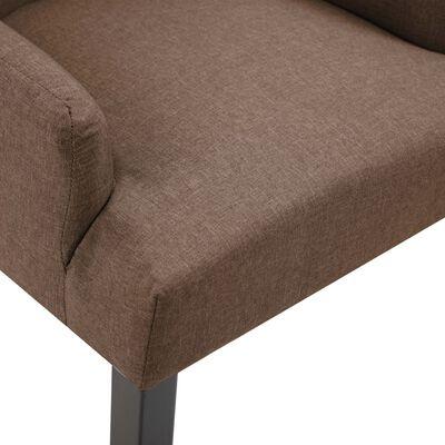 vidaXL Chaises de salle à manger avec accoudoirs 2 pcs Marron Tissu