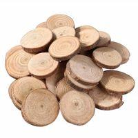 100pcs tranches de bois de pin copeaux de bois ronds naturels double