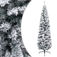 vidaXL Sapin de Noël artificiel mince flocon de neige Vert 210 cm PVC