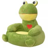 vidaXL Chaise pour enfants en peluche Grenouille Verte