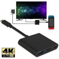 Adaptateur HDMI 4K pour commutateur, câble de station d'accueil