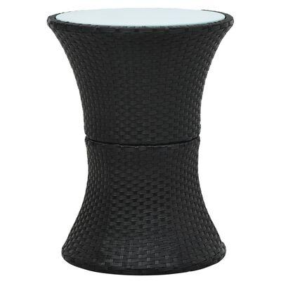 vidaXL Table d'appoint de jardin Forme de tambour Noir Résine tressée