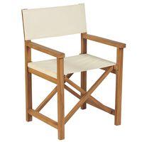 vidaXL Chaise pliable de metteur en scène Bois de teck Blanc crème