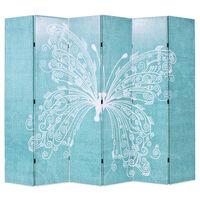 vidaXL Cloison de séparation pliable 228 x 170 cm Papillon Bleu