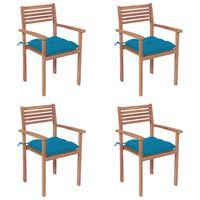 vidaXL Chaises de jardin 4 pcs avec coussins bleu clair Teck solide