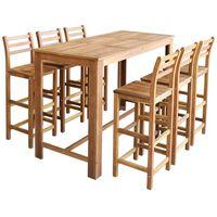 vidaXL Table et chaises de bar 7 pcs Bois d'acacia massif