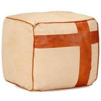 vidaXL Pouf Sable 40 x 40 x 40 cm Toile de coton et cuir