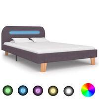 vidaXL Cadre de lit avec LED Taupe Tissu 120 x 200 cm