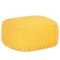 vidaXL Pouf tricoté à la main Jaune moutarde 50x50x30 cm Coton