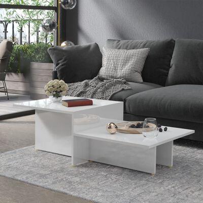 vidaXL Table basse Blanc brillant 111,5x50x33 cm Aggloméré