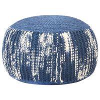 vidaXL Pouf tricoté à la main Bleu et blanc 50 x 35 cm Laine