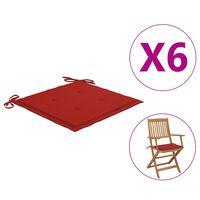vidaXL Coussins de chaise de jardin 6 pcs Rouge 40x40x4 cm Tissu