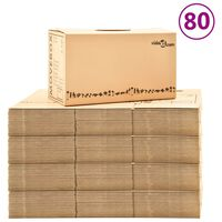 vidaXL Boîtes de déménagement Carton XXL 80 pcs 60x33x34 cm
