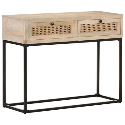 vidaXL Table console 100x35x76 cm Bois de manguier et canne naturelle