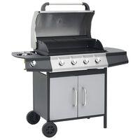 vidaXL Barbecue à gaz 4+1 zones cuisson Noir et argenté Inox et acier