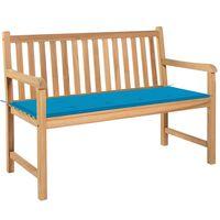 vidaXL Banc de jardin avec coussin bleu 120 cm Bois de teck