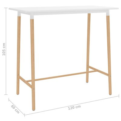 vidaXL Table de bar Blanc 120x60x105 cm MDF et bois de hêtre massif
