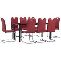 vidaXL Ensemble de salle à manger 9 pcs Similicuir Rouge