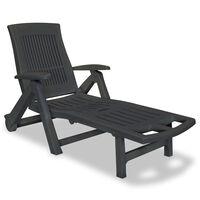 vidaXL Chaise longue avec repose-pied Plastique Anthracite