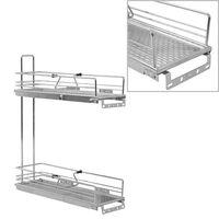 vidaXL Panier à 2 niveaux métallique de cuisine 47x15x54,5 cm