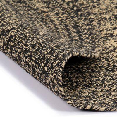 vidaXL Tapis fait à la main Jute Noir et naturel 150 cm