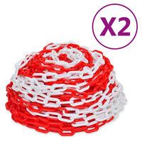 vidaXL Chaînes d'avertissement 2 pcs Rouge et blanc Plastique 30 m