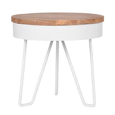 LABEL51 Table d'angle Saran 44x44x43 cm Bois/Blanc