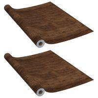 vidaXL Films autoadhésifs pour meubles 2 pcs Chêne foncé 500x90 cm PVC