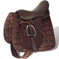 """Set de selle équitation 17,5"""" en cuir véritable 18 cm 5 en 1 brun"""