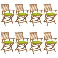 vidaXL Chaises pliables de jardin 8 pcs avec coussins Bois d'acacia