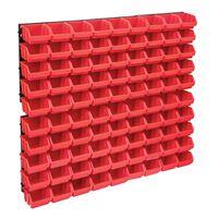 vidaXL Kit de bacs de stockage et panneaux muraux 96 pcs Rouge et noir