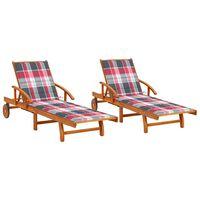 vidaXL Chaises longues 2 pcs avec coussins Bois d'acacia solide