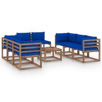 vidaXL Salon de jardin 9 pcs avec coussins Bleu