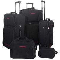 vidaXL Set de valises noires 5 pièces