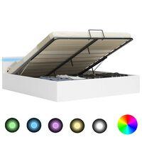 vidaXL Cadre de lit à rangement avec LED Blanc Similicuir 180x200 cm
