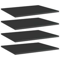 vidaXL Panneaux bibliothèque 4 pcs Noir brillant 60x50x1,5cm Aggloméré