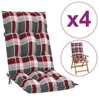 vidaXL Coussins de chaise de jardin 4 pcs Carreaux rouges 120x50x7 cm