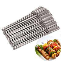 15pc réutilisable plat en acier inoxydable brochettes de barbecue