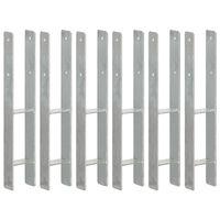 vidaXL Piquets de clôture 6 pcs Argenté 9x6x60 cm Acier galvanisé