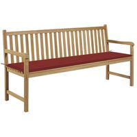 vidaXL Banc de jardin avec coussin rouge 175 cm Bois de teck massif