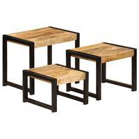 vidaXL Tables gigognes 3 pcs Bois solide de manguier