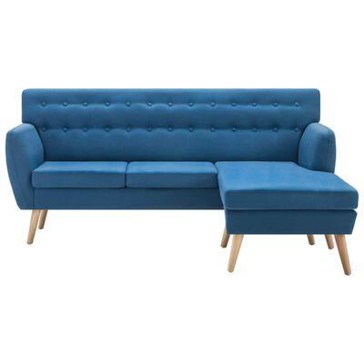 vidaXL Canapé d'angle Revêtement en tissu 171,5x138x81,5 cm Bleu