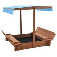 vidaXL Bac à sable avec toit Bois de sapin 122x120x123 cm